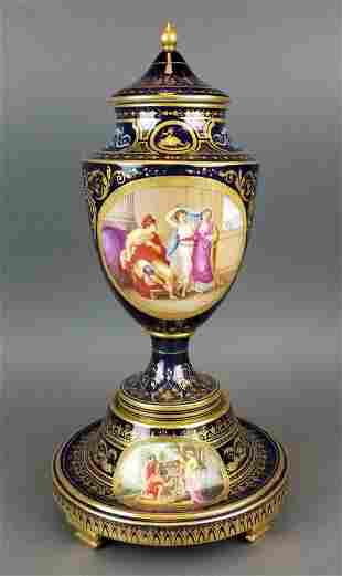 19th C. French Royal Vienna Handpainted Vase on Base