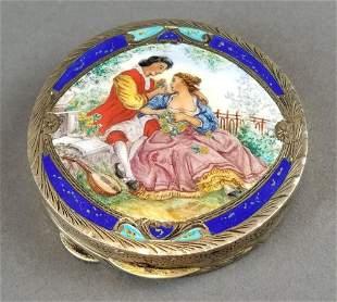 19th C. Feench Enamel on Silver Powder Box