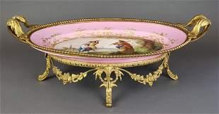 French Sevres Porcelain & Bronze Centerpiece, 19th C.