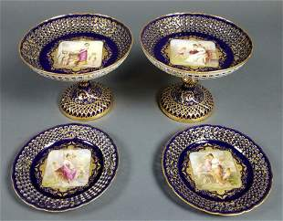 Set of Late 19th C. Royal Vienna Reticulated Tazzas and