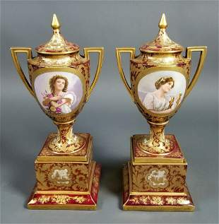 Pair of 19th C. Royal Vienna Covered Urns