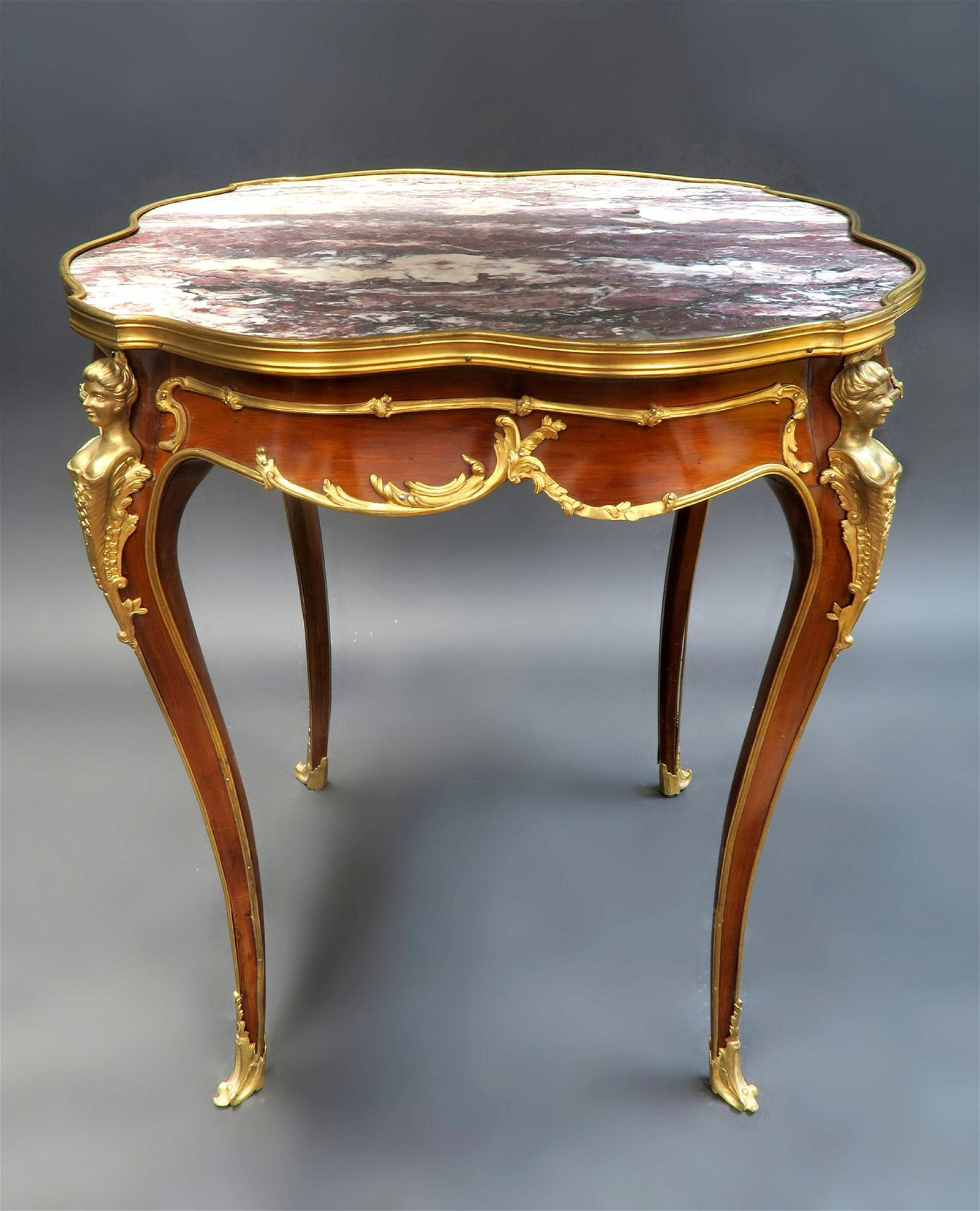 F. Linke Attributed Figural Bronze Mounted Center Table