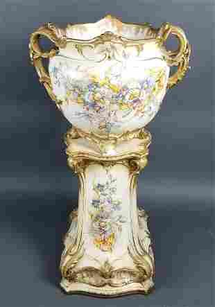 Late 19th C. Royal Bonn German Porcelain Planter on