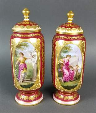 Pair of 19th C. Royal Vienna Hanpainted Urns