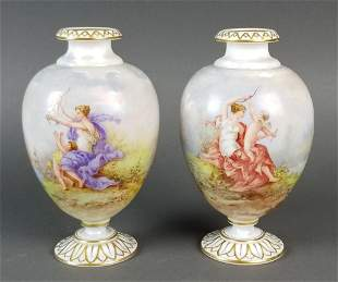 Pair of French Baccarat Opaline Vases
