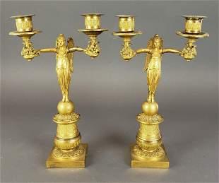 Pair of Figural Bronze 2 Arm Empire Candelabras
