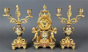 Exceptional French Champleve Enamel Figural Clockset