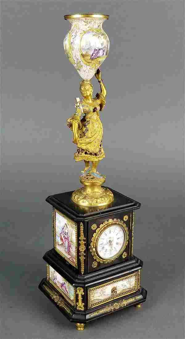 19th C. Austrian Viennese Enamel and Bronze Figural