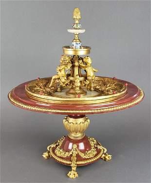 19th C. French Enamel Bronze Figural Centerpiece