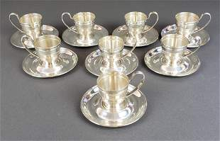 Set of 8 Sterling Silver Cup & Saucers