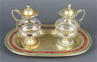 19th C. French Silver Cruet Set w/ Fitted Case