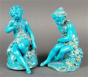 Pair of 19th C. Sevres French Turquoise Blue Porcelain
