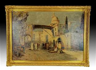 I.R. Abel Signed Large Oreientalist Oil on Canvas