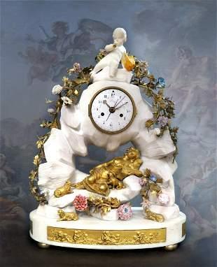 Large 19th C Marble Figural Enamel Gilt Bronze Mantel