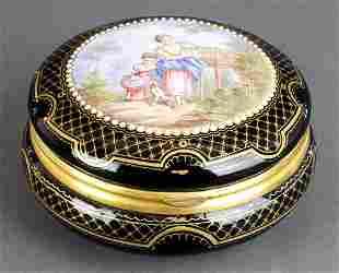 French Porcelain & Enamel Round Jewelry Box