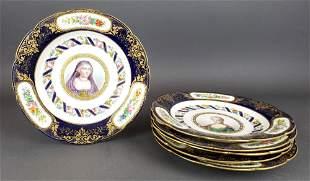 Set of 6 French Sevres Porcelain Plates