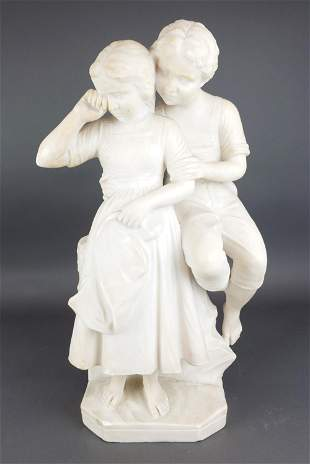 Large Marble Sculpture of Boy & Girl