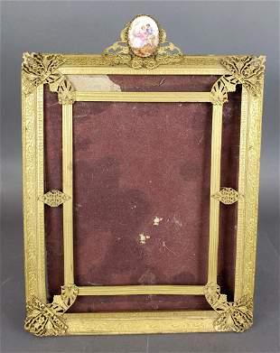 19th C. Gilt Bronze Frame w/ Porcelain Plaque