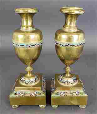 Pair of French Champleve Enamel & Bronze Vases