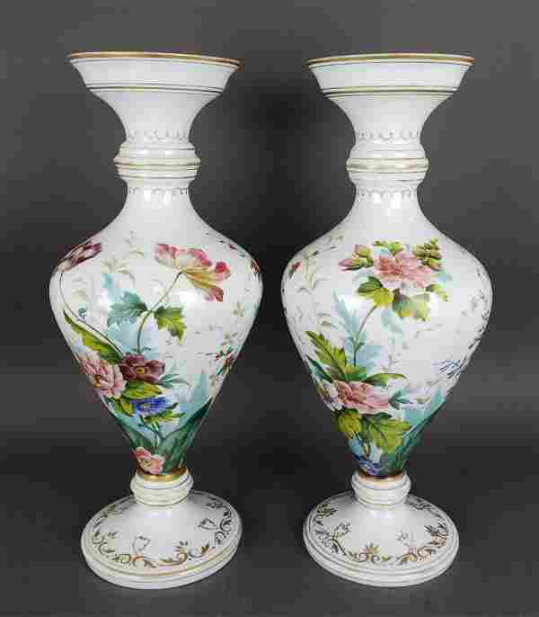 Pair of Large 19th C. Baccarat Opaline Vases