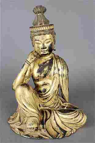 Carved Wood Figure of Seated Quan Yen