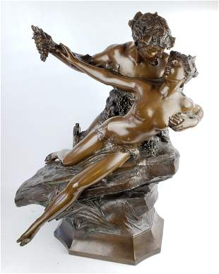 Large Bronze Group Statue Signed