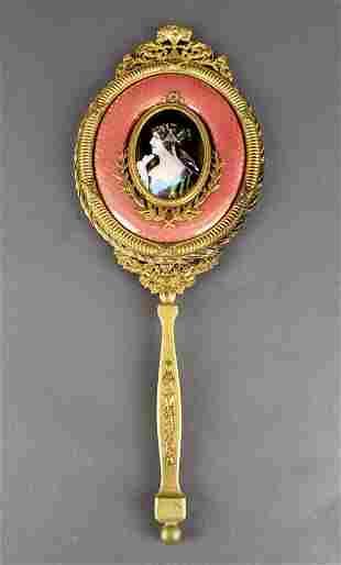 Large French Enamel & Bronze Hand Mirror