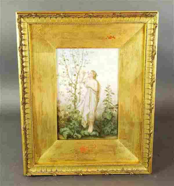19th C. Framed KPM Porcelain Plaque of Woman in Garden