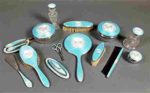 A Late 19th C. 17 Pc. Enamel and Sterling Silver Vanity