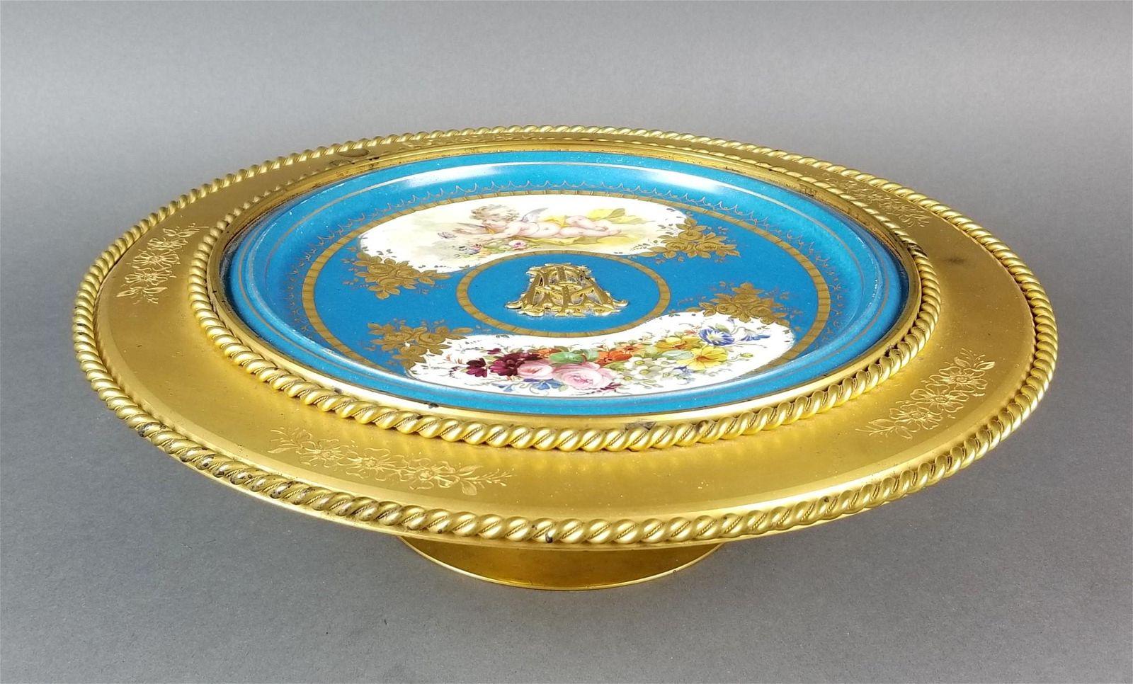 Large French Sevres Porcelain & Bronze Centerpiece,