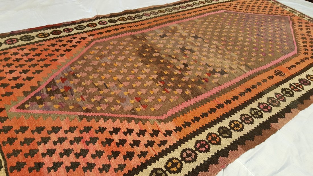 Persian Senneh Kilim Rug Carpet - 4