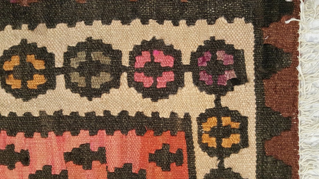 Persian Senneh Kilim Rug Carpet - 5