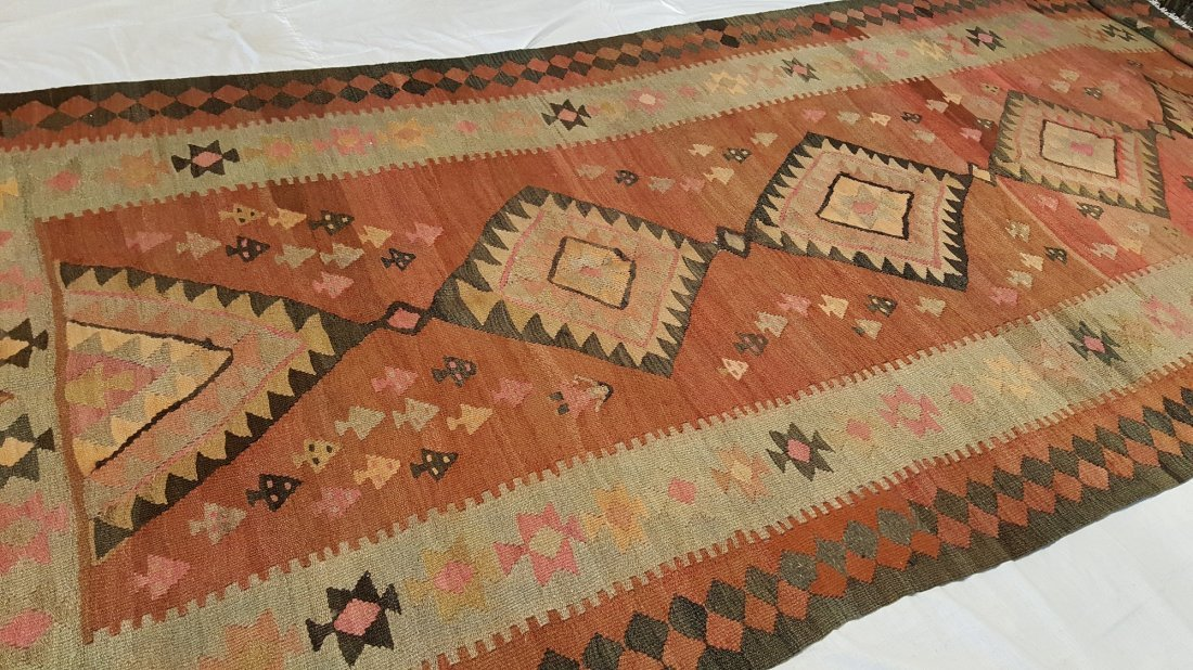 Antique Persian Qashqai Kilim Rug Carpet