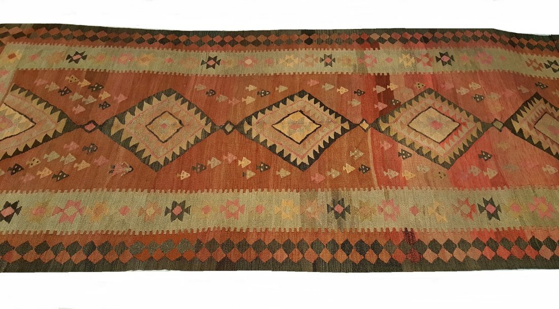 Antique Persian Qashqai Kilim Rug Carpet - 2