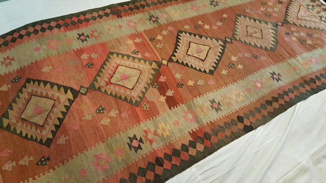Antique Persian Qashqai Kilim Rug Carpet - 5