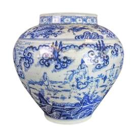 Chinese Ming Dynasty Blue and White Porcelain Jar