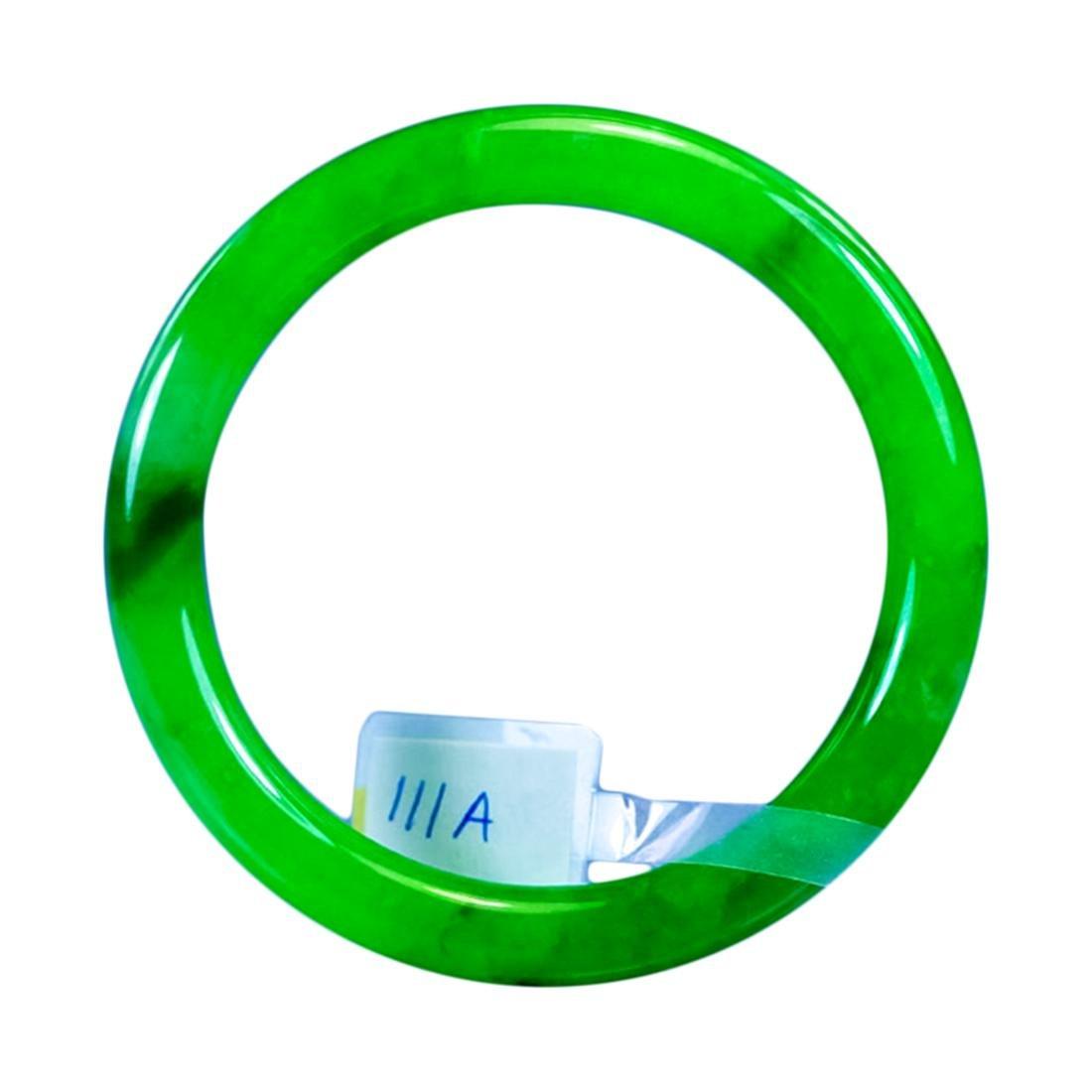 Chinese Natural  Green Jadeite Bangle Bracelet - 2