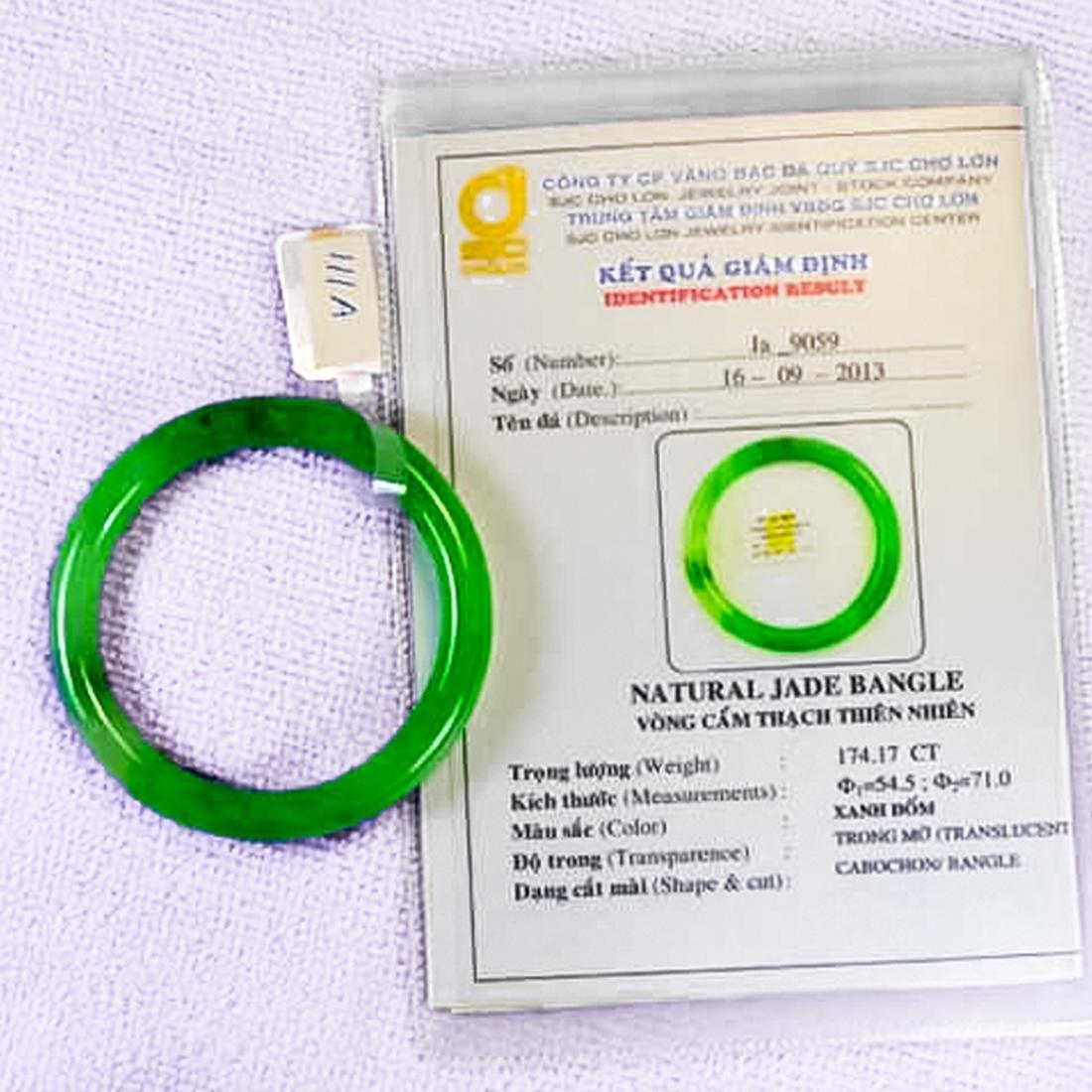 Chinese Natural  Green Jadeite Bangle Bracelet - 3