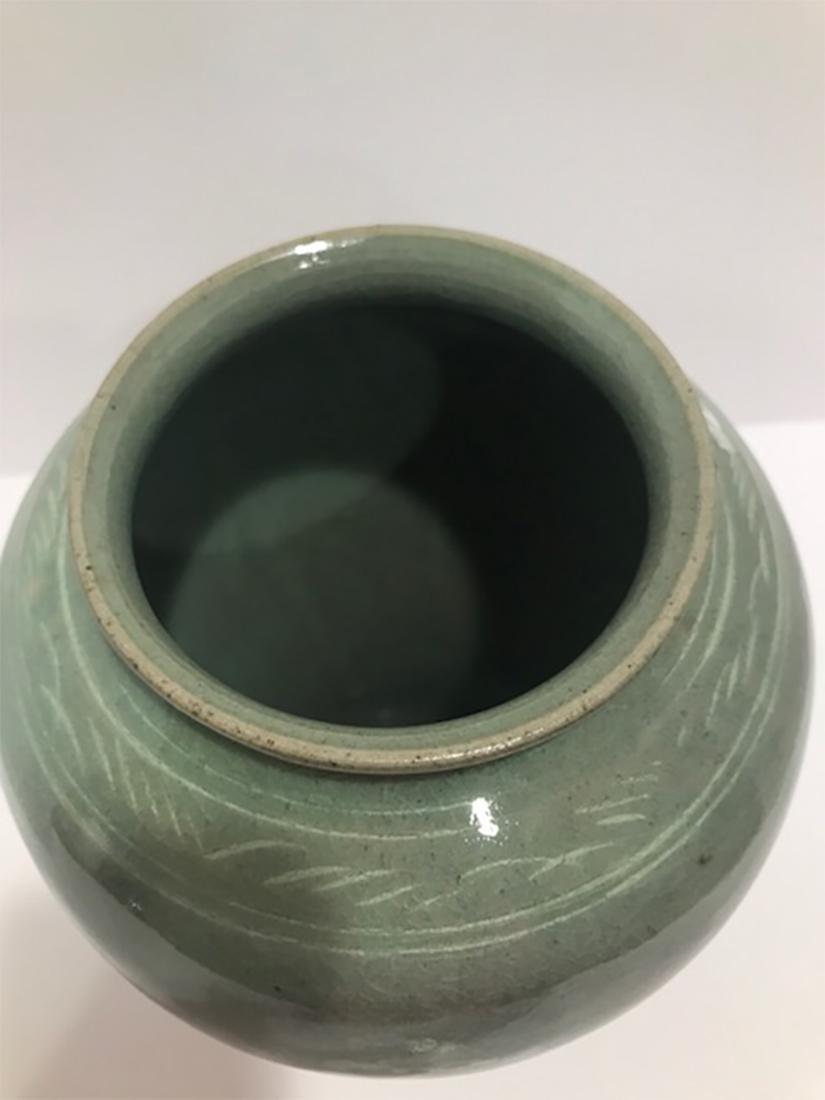 Korean Li Chao Dynasty Li Zhaoli Celadon Carved Vase - 3