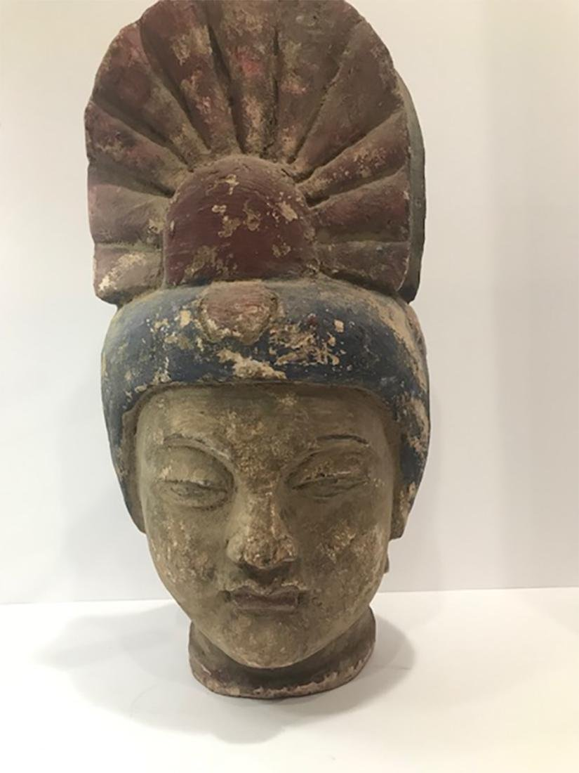 Chinese Ming Dynasty Wooden Buddha Head