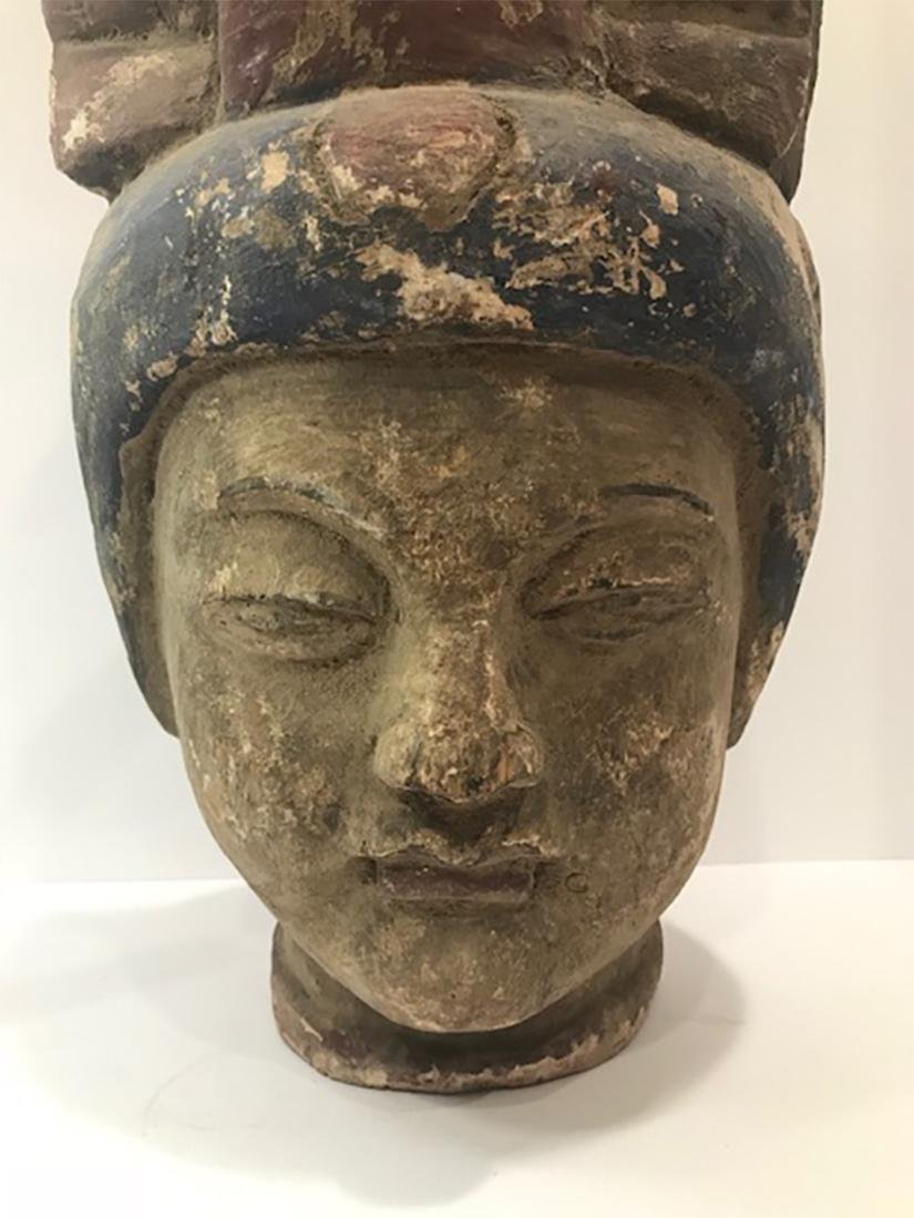 Chinese Ming Dynasty Wooden Buddha Head - 2