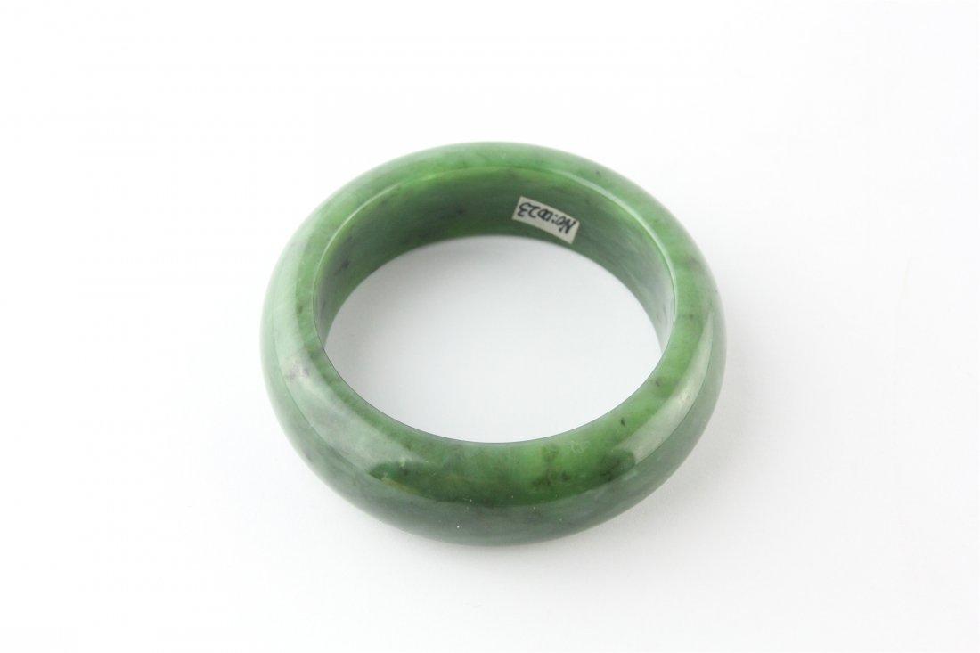 Chinese Natural Hetian Green Jade Bracelet - 3