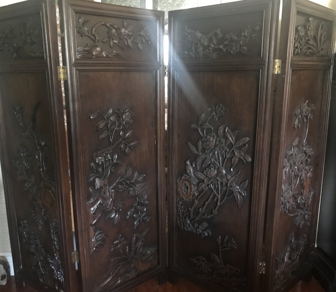 Great Carved Chinese Qing Dynasty ZiTan Wood Screen
