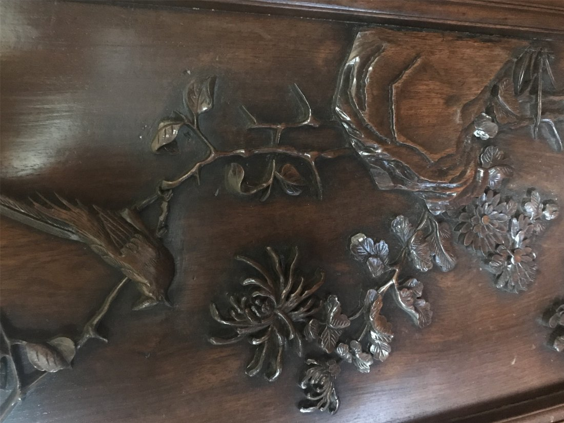 Great Carved Chinese Qing Dynasty ZiTan Wood Screen - 2