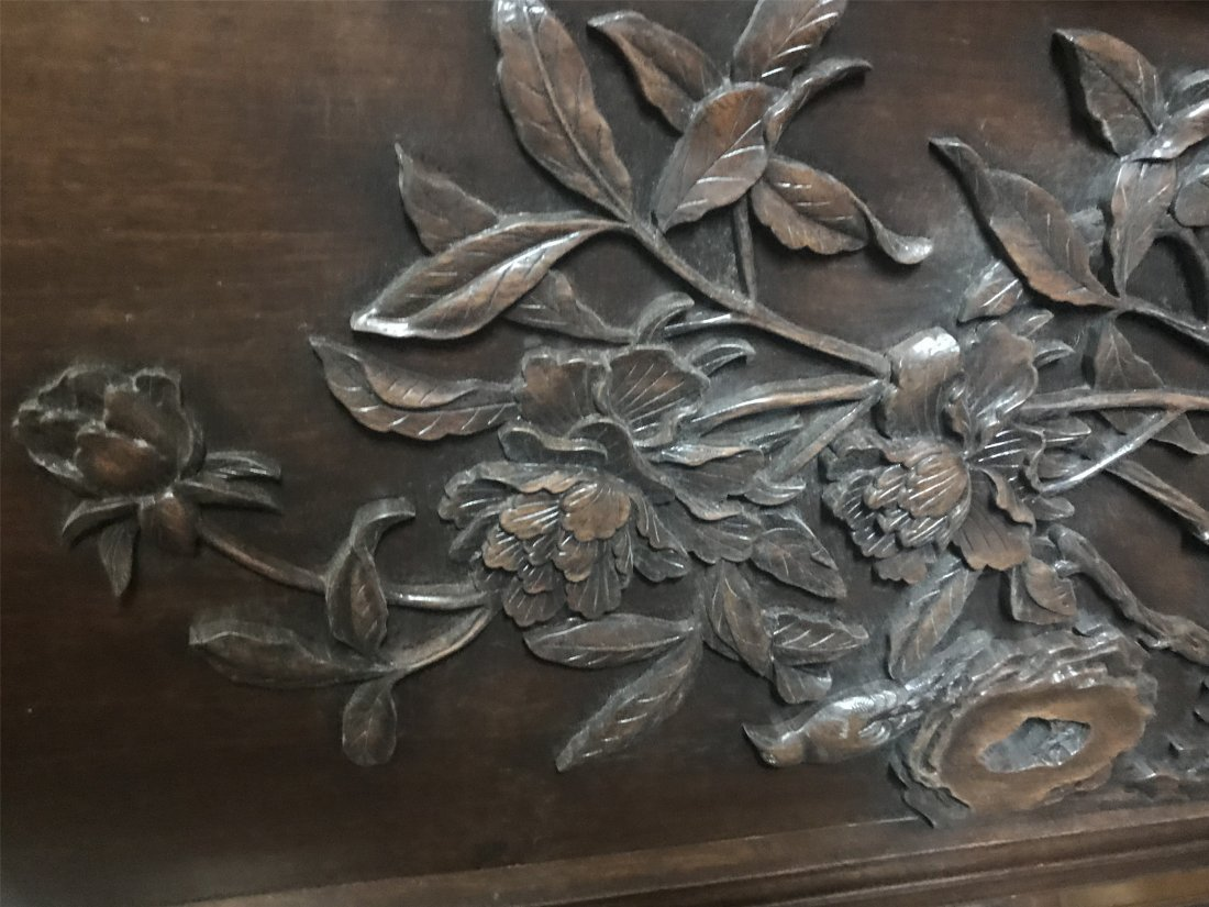Great Carved Chinese Qing Dynasty ZiTan Wood Screen - 4