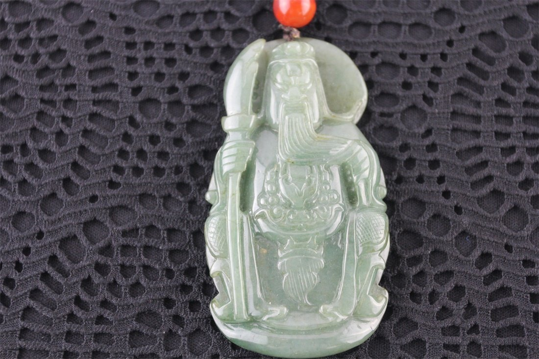 Chinese Natural Carved jadeite Guangong