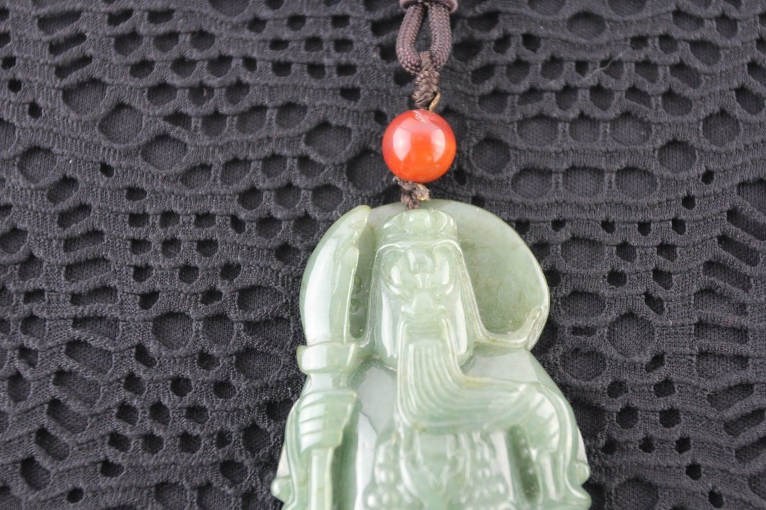Chinese Natural Carved jadeite Guangong - 2
