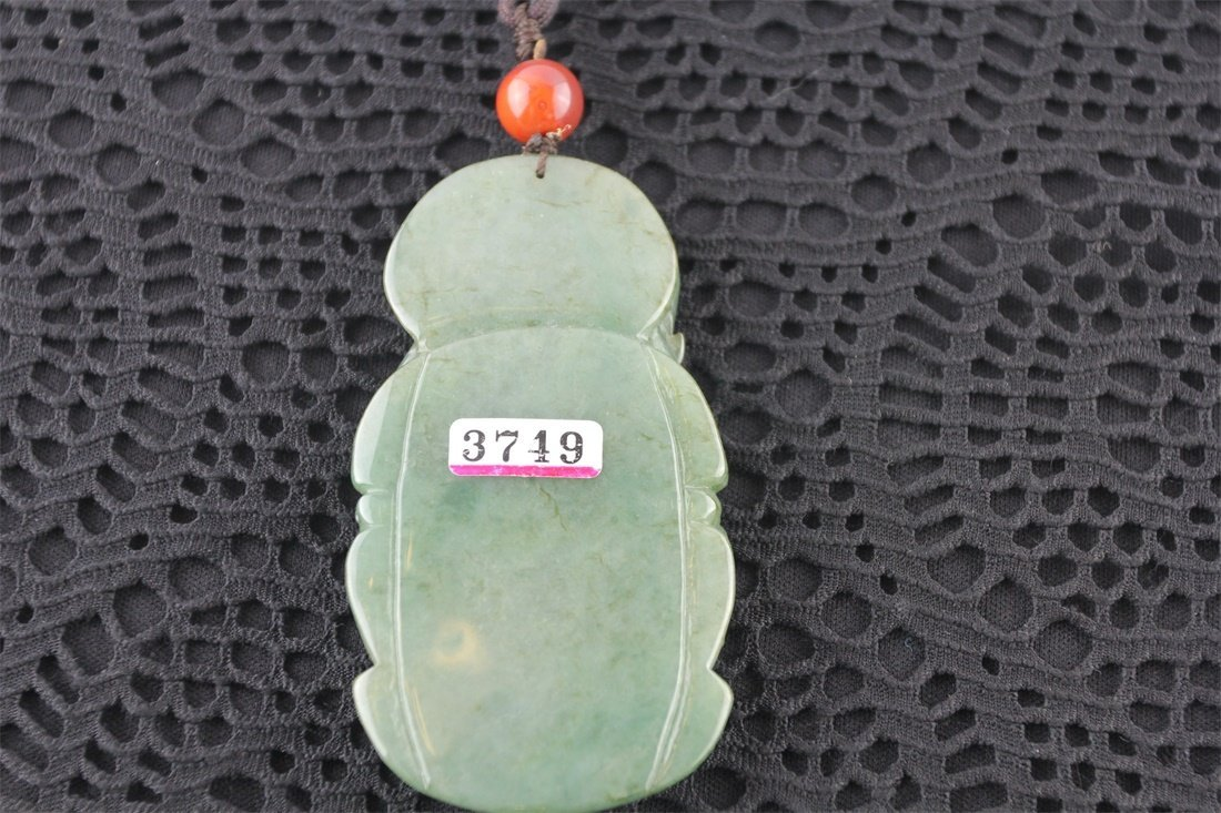 Chinese Natural Carved jadeite Guangong - 3
