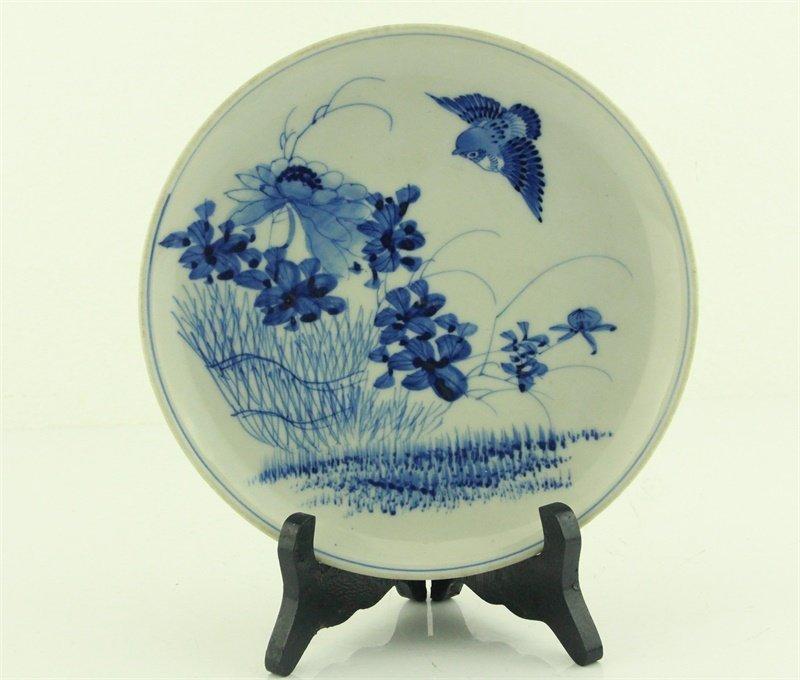 Chinese Blue and White Flower Bird Dish