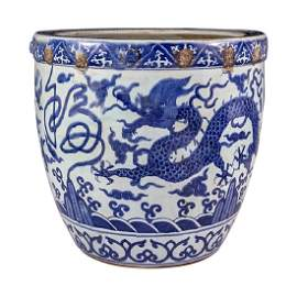 Chinese Blue and White Porcelain Dragon Fish Bowl